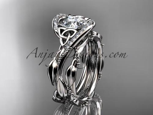 14kt White Gold Celtic Trinity Knot Engagement Set CT764S