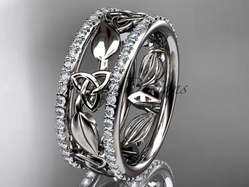 platinum celtic trinity knot wedding band, diamond wedding band, engagement ring CT7233B