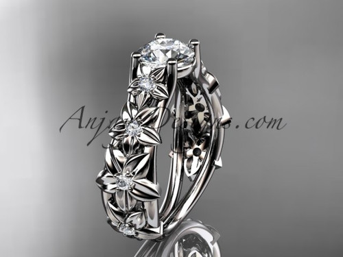 """Platinum diamond floral wedding ring, engagement ring with a """"Forever One"""" Moissanite center stone ADLR149"""