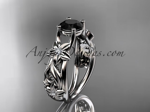 Flower Engagement Ring White Gold Black Diamond ADLR216