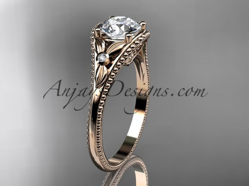 14k Rose Gold Flower Antique Engagement Rings ADLR377