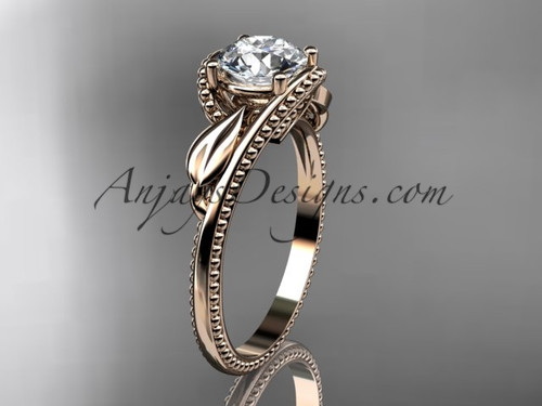 """Unique 14kt rose gold engagement ring with a """"Forever One"""" Moissanite center stone ADLR322"""