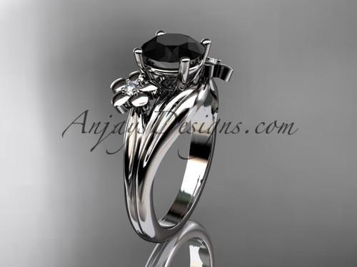 platinum diamond leaf and vine wedding ring, engagement ring with a Black Diamond center stone ADLR159