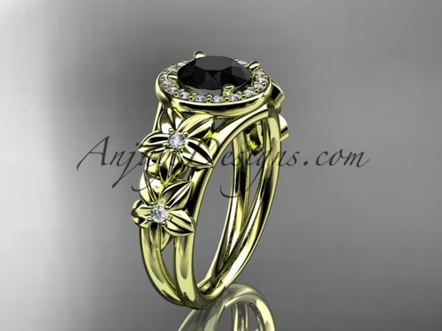 14kt yellow gold diamond floral wedding ring, engagement ring with a Black Diamond center stone ADLR131