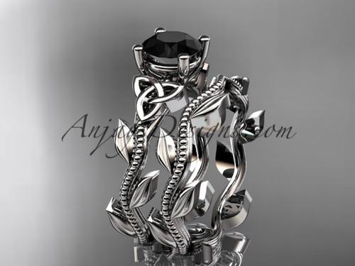 platinum celtic trinity knot wedding ring, engagement set with a Black Diamond center stone CT7238S