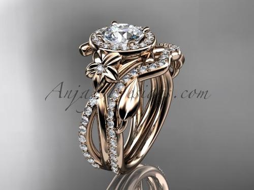 "14kt rose gold diamond leaf and vine, flower engagement set, wedding set,  with a ""Forever One"" Moissanite center stone ADLR89S"
