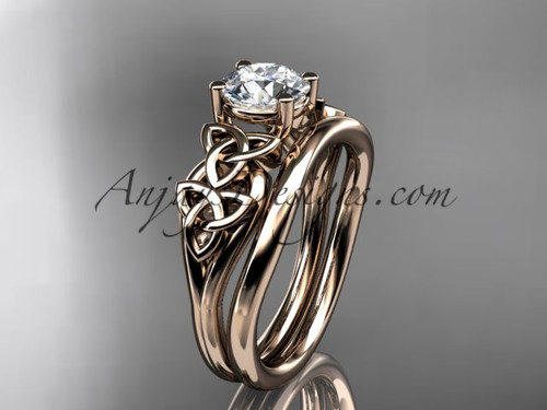 14kt rose gold celtic trinity knot wedding ring, engagement set CT7169S
