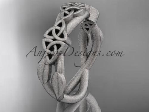 14kt white gold celtic trinity knot wedding band, matte finish wedding band, engagement  ring CT7204G