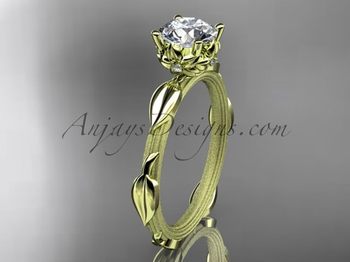 "14k yellow gold diamond vine and leaf wedding ring, engagement ring with a ""Forever One"" Moissanite center stone ADLR290"