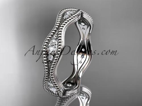 14kt white gold diamond leaf and vine wedding ring, engagement ring, wedding band ADLR50B