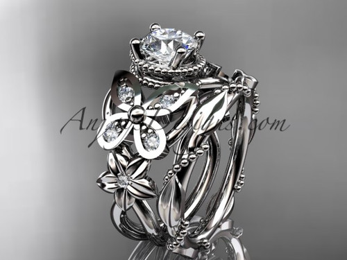"14kt white gold diamond floral, butterfly wedding ring, engagement set with a ""Forever One"" Moissanite center stone ADLR136S"