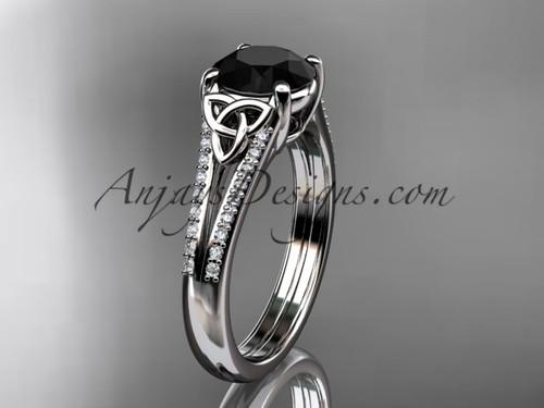 platinum celtic trinity knot engagement ring ,diamond wedding ring with a Black Diamond center stone CT7108