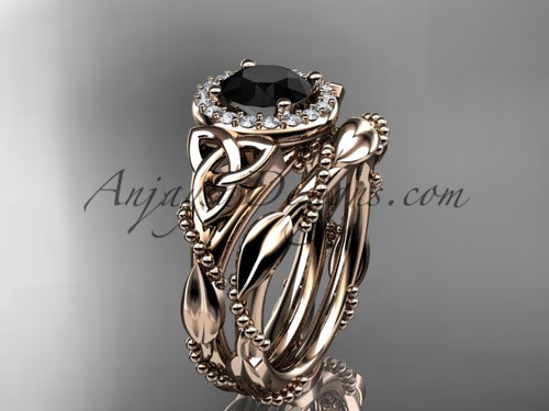 14kt rose gold diamond celtic trinity knot wedding ring, engagement set with a Black Diamond center stone CT7328S