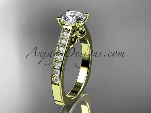 """14kt yellow gold diamond unique engagement ring, wedding ring with a """"Forever One"""" Moissanite center stone ADER114"""