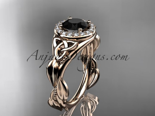 14kt rose gold diamond celtic trinity knot wedding ring, engagement ring with a Black Diamond center stone CT7327