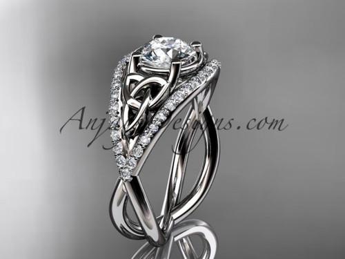 14kt white gold celtic trinity knot engagement ring ,diamond wedding ring CT788