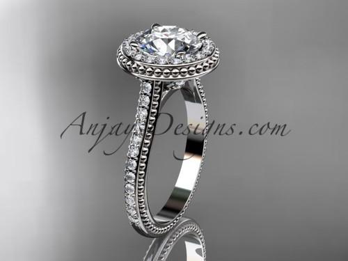 platinum diamond unique engagement ring, wedding ring ADER97