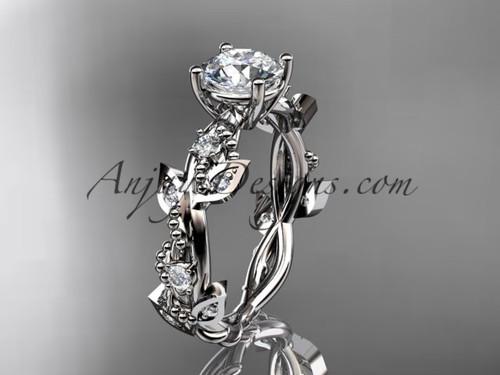 "14kt white gold diamond leaf and vine wedding ring, engagement ring with  ""Forever One"" Moissanite center stone ADLR59"