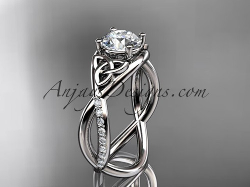 """platinum celtic trinity knot engagement ring, wedding ring with a """"Forever One"""" Moissanite center stone CT790"""