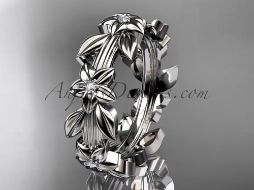 14kt white gold diamond leaf wedding ring, engagement ring, wedding band ADLR316B