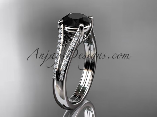 14kt white gold diamond unique engagement ring, wedding ring with a  Black Diamond center stone ADER108