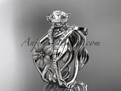Nature Inspired Engagement Rings White Gold Set ADLR270S