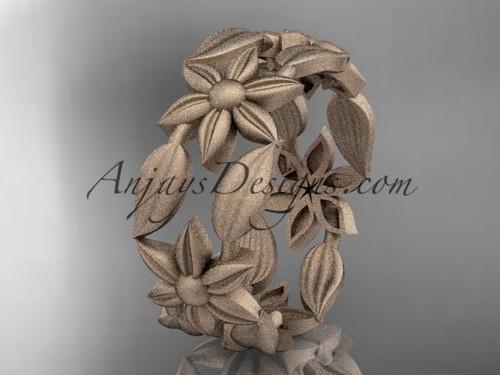14kt rose gold leaf and vine, flower wedding ring, engagement ring, wedding band ADLR344G