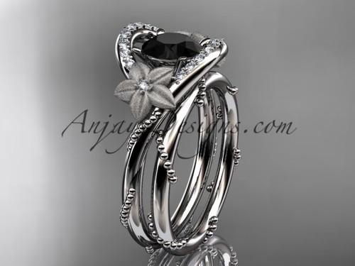 Flower Bridal Set White Gold Black Diamond Engagement Ring ADLR166S