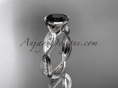 platinum diamond  wedding ring,engagement ring with  Black Diamond center stone ADLR24