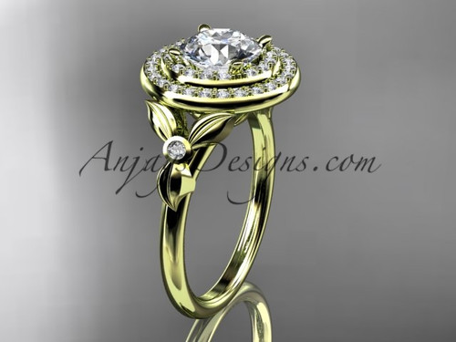 """14kt yellow gold diamond floral wedding ring, engagement ring with a """"Forever One"""" Moissanite center stone ADLR133"""