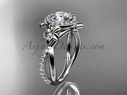 """Platinum diamond leaf and vine wedding ring, engagement ring with a """"Forever One"""" Moissanite center stone ADLR89"""