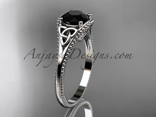 14kt white gold celtic trinity knot wedding ring, engagement ring with a Black Diamond center stone CT7375