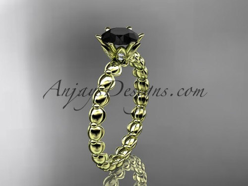 14k yellow gold diamond vine and leaf wedding ring, engagement ring with  Black Diamond center stone ADLR34
