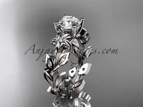 Platinum Diamond Flower Sapphire Engagement Ring ADLR215