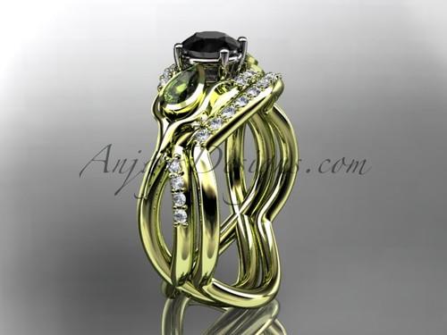 Unique 14kt yellow gold diamond tulip flower, wedding set, leaf and vine engagement set with a Black Diamond center stone ADLR226