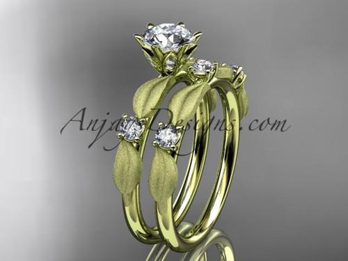 14kt yellow gold diamond unique leaf and vine engagement set, wedding set ADER177S