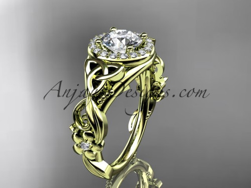 """14kt yellow gold diamond celtic trinity knot wedding ring, engagement ring with a """"Forever One"""" Moissanite center stone CT7300"""