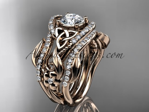 "14kt rose gold diamond celtic trinity knot wedding ring, engagement ring with a ""Forever One"" Moissanite center stone  and double matching band CT7211S"
