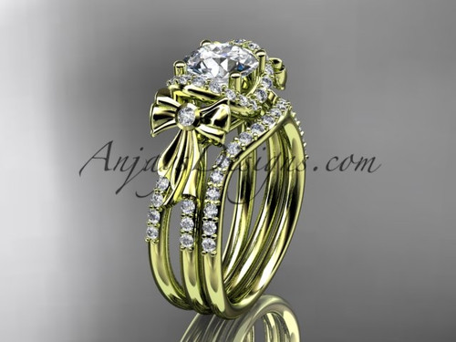 "14kt yellow gold diamond unique engagement set, wedding ring, bow ring with a ""Forever One"" Moissanite center stone ADER155S"