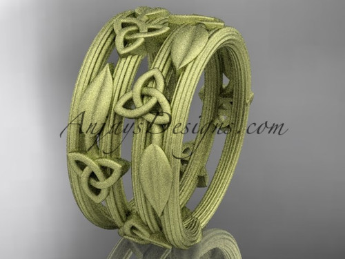 14kt yellow gold diamond celtic trinity knot matte finish wedding band, engagement ring CT7242B