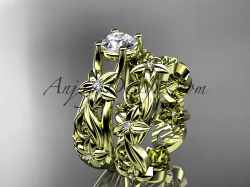 "14k yellow gold diamond floral wedding set, engagement set with a ""Forever One"" Moissanite center stone ADLR216S"
