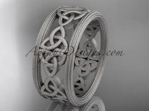 14kt white gold celtic trinity knot wedding band, matte finish wedding band, engagement  ring CT7236G