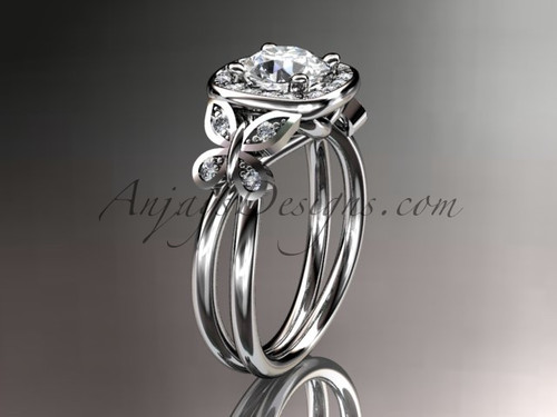 "14kt white gold diamond unique butterfly engagement ring, wedding ring with a ""Forever One"" Moissanite center stone ADLR330"