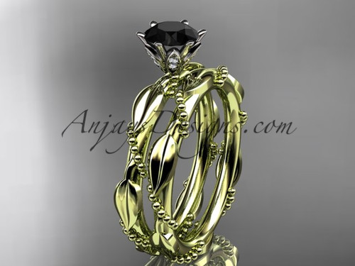 14k yellow gold diamond vine and leaf wedding ring, engagement set with a Black Diamond center stone ADLR178S