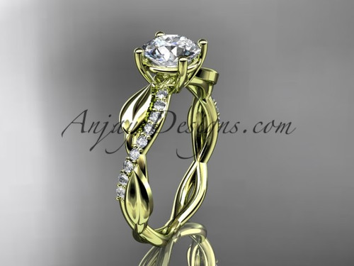 """14kt yellow gold leaf  diamond wedding ring, engagement ring with a """"Forever One"""" Moissanite center stone ADLR385"""