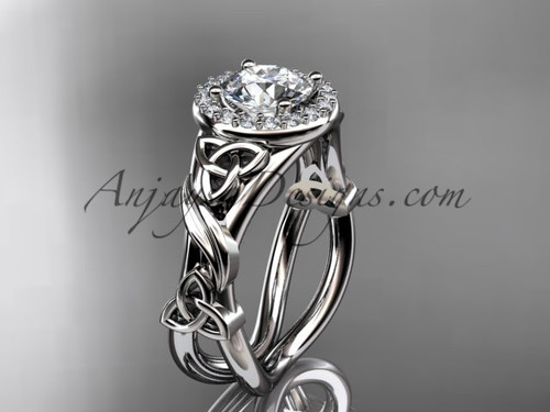 """14kt white gold diamond celtic trinity knot wedding ring, engagement ring with a """"Forever One"""" Moissanite center stoneCT7302"""
