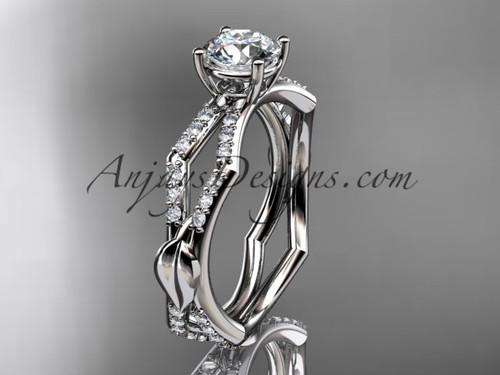 "14k white gold diamond leaf and vine wedding ring,engagement ring with a ""Forever One"" Moissanite center stone ADLR353"