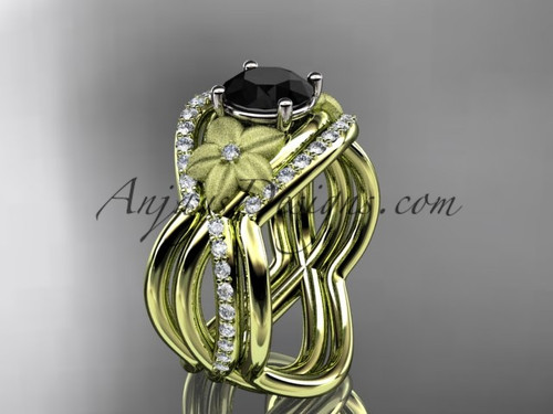 14kt yellow gold diamond leaf and vine wedding ring, engagement ring with  Black Diamond  center stone and double matching band ADLR90S