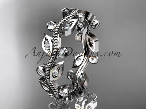 14kt white gold diamond leaf and vine wedding ring,engagement ring,wedding band ADLR1B