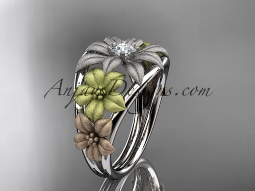 14kt tri color gold diamond floral wedding ring, engagement ring, wedding band ADLR170